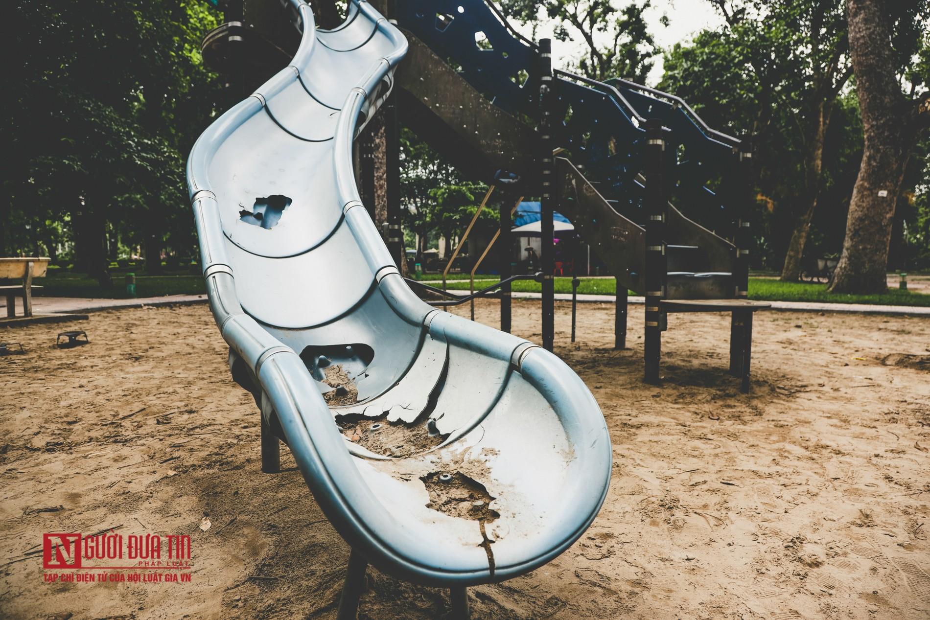 Hà Nội: Xót xa những hạng mục vui chơi cho trẻ xuống cấp, hư hỏng tại công viên Thống Nhất-4