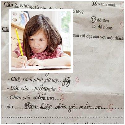Học trò viết câu nối thành ngữ rất hay nhưng cô giáo phán