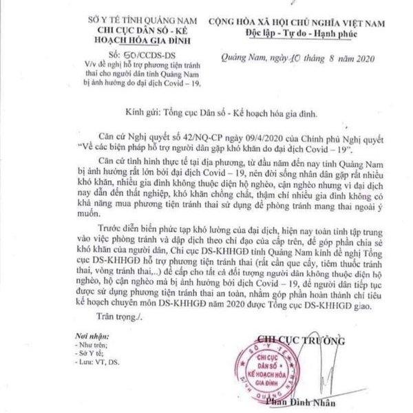 Bác đơn xin hỗ trợ phương tiện tránh thai vì... dịch Covid-19 của Quảng Nam