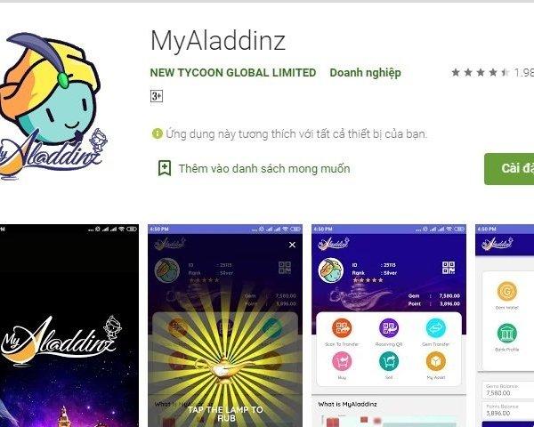 Cảnh báo lừa đảo khi nạp tiền vào ứng dụng Myaladdinz