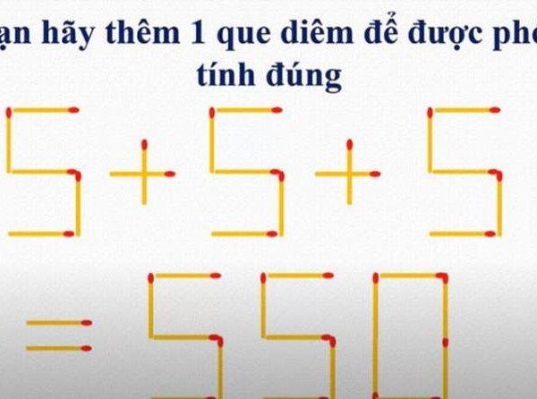 Làm thế nào để biến phép tính 5+5+5=550 trở thành phép tính đúng?