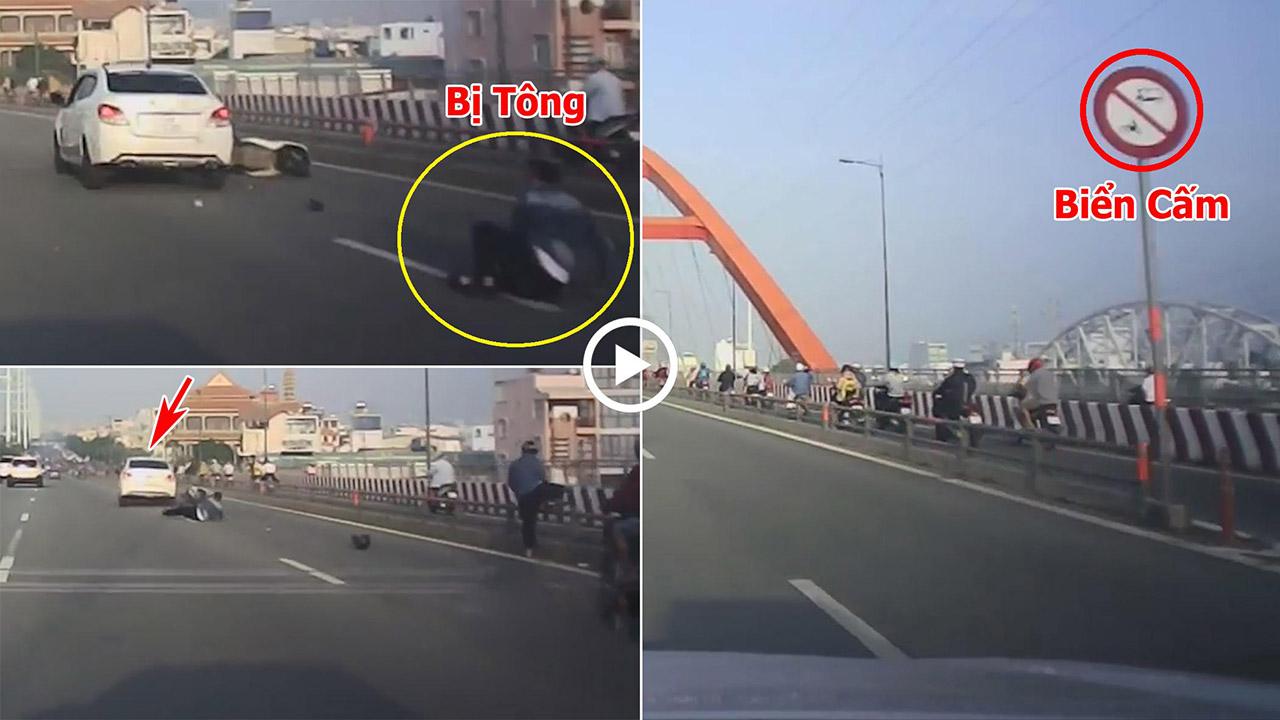 Đi vào làn ô tô, thanh niên đi xe máy bị tông văng vì dừng xe nhặt đồ