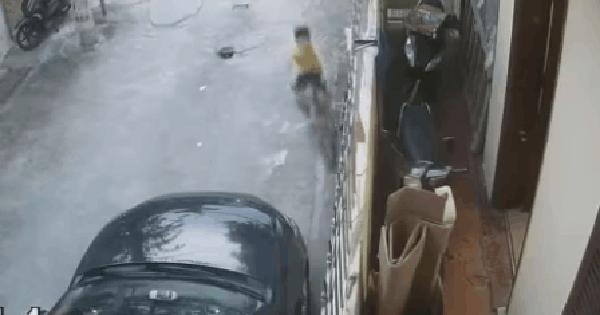 CLIP: Cậu nhóc lao xe đạp móp ca-pô ô tô, ông bố