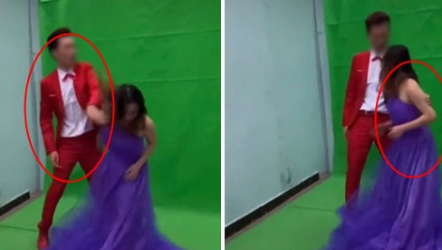 Xích mích khi chụp ảnh cưới, chú rể tát thẳng vào đầu cô dâu và màn lao vào