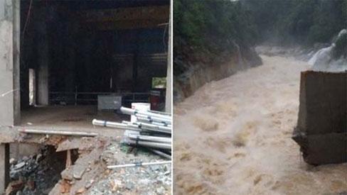 Ảnh: Cận cảnh bên trong khu vực nhà điều hành thủy điện Rào Trăng 3 bị lũ quét vùi lấp