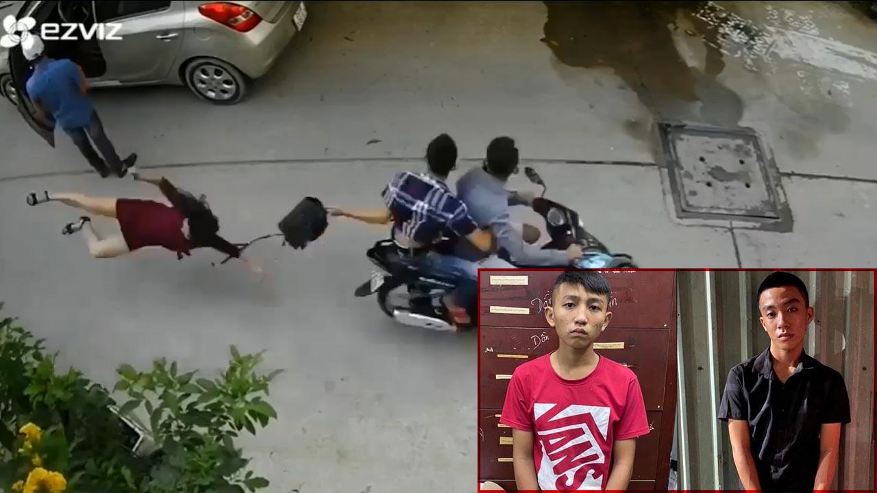 Bắt 2 tên cướp giật túi xách khiến người phụ nữ ngã đập đầu xuống đường gây bức xúc MXH
