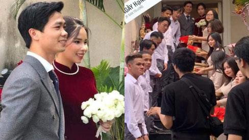Hình ảnh đầu tiên của chú rể Công Phượng và cô dâu Viên Minh cùng dàn bê tráp toàn sao tại lễ xin dâu
