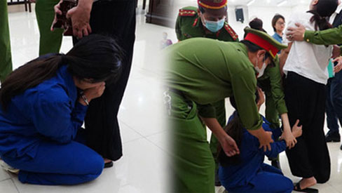 Nữ bị cáo bạo hành con 3 tuổi đến chết quỳ sụp xuống đất, cầu mong mẹ xin giảm án cho chồng:
