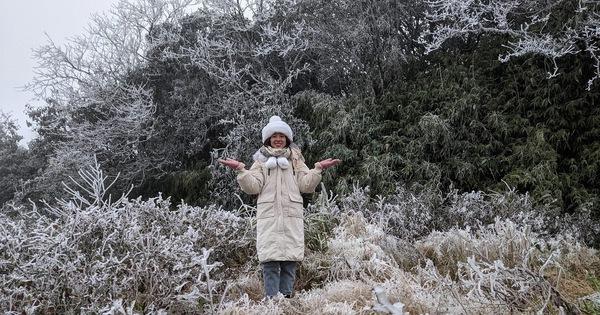Khách du lịch chụp ảnh với băng giá phủ trắng đỉnh Phja Oắc và Mẫu Sơn