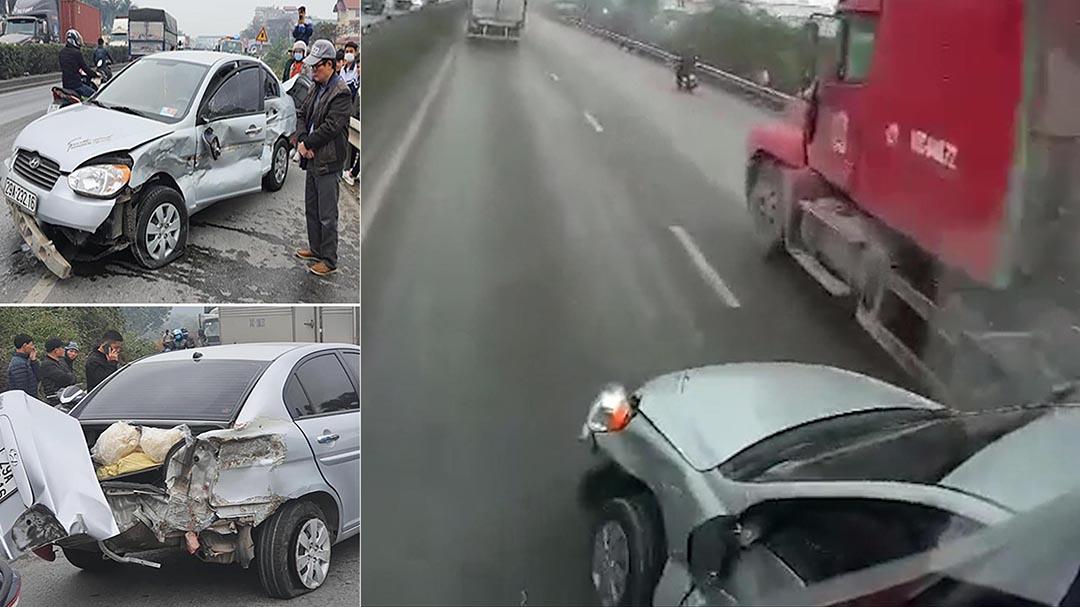 Chuyển làn ẩu, xe con bị xe ben tông xoay 180 độ trên QL5