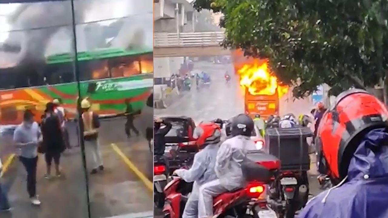 Tranh cãi giá vé, hành khách đổ xăng đốt nữ nhân viên xe buýt
