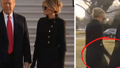 Trong khoảnh khắc cuối trước lúc rời khỏi Nhà Trắng, cựu Đệ Nhất Phu Nhân Melania Trump gây bất ngờ vì có hành động đặc biệt khác lạ với chồng