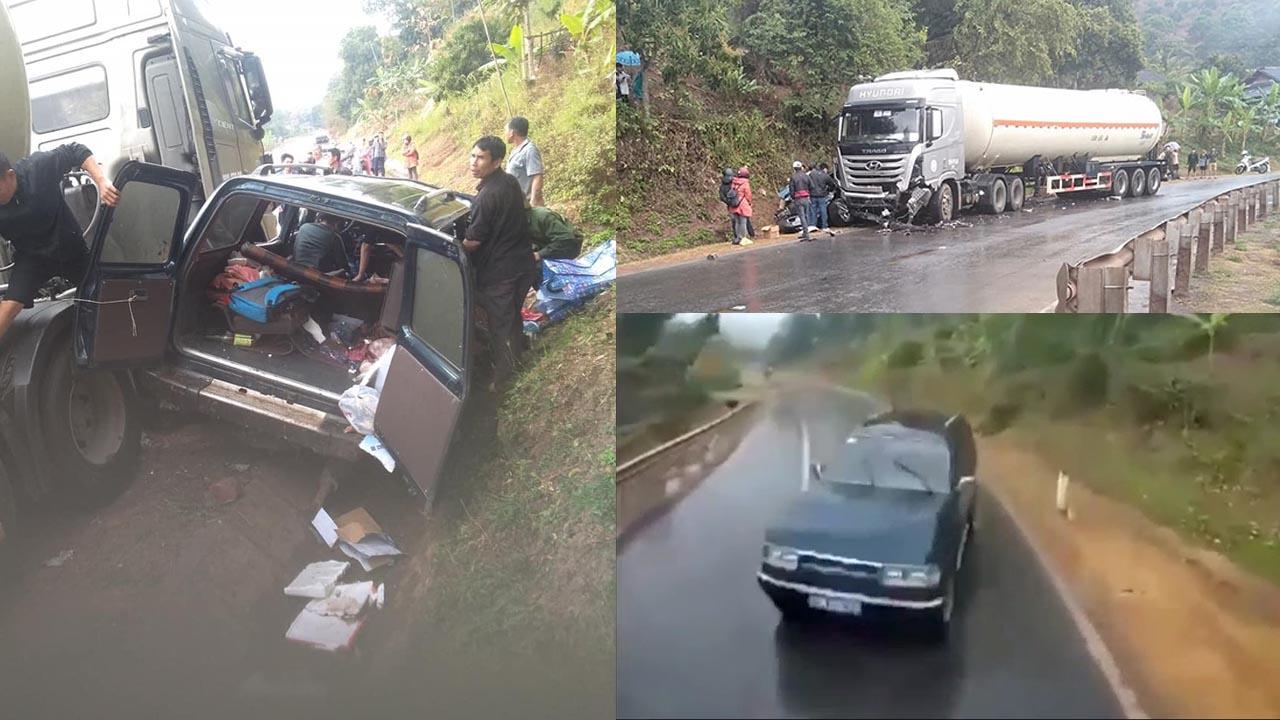 Sơn La: Vào cua đường trơn, xe con va chạm xe bồn, 7 người thương vong