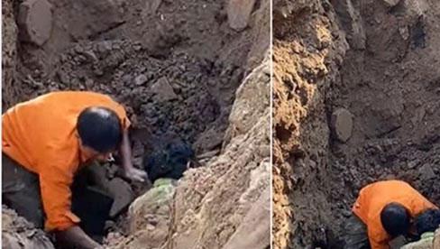 Sự thật đoạn clip đang đào đường ở Hà Nội thì phát hiện