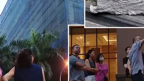 Hà Nội: Cục bê tông rơi từ tòa nhà đang xây dựng