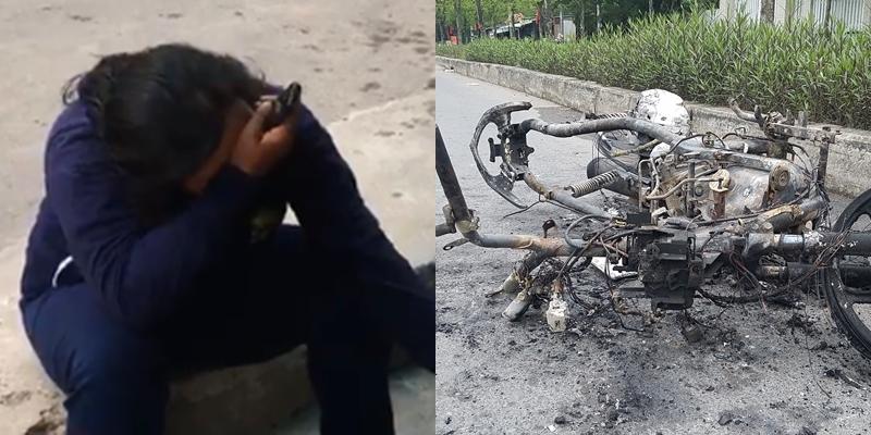 TP.HCM: Xe máy đang đi bỗng cháy dữ dội, chủ xe khóc nức nở-2