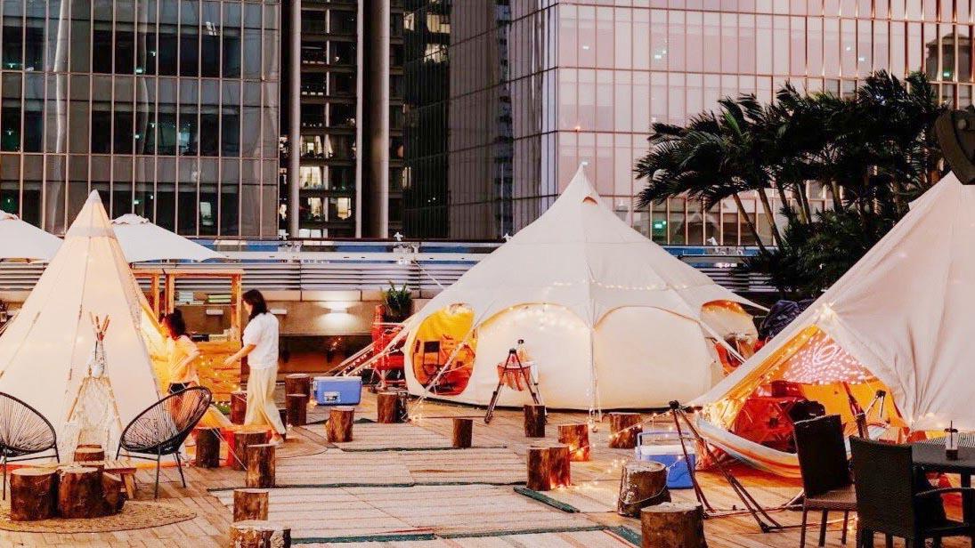 Cắm trại kiểu Hàn Quốc trên nóc nhà cao tầng ở Hà Nội