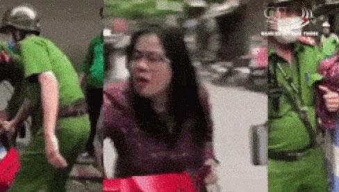 Bị công an giữ xe, người phụ nữ la hét chửi bới rồi thách thức: