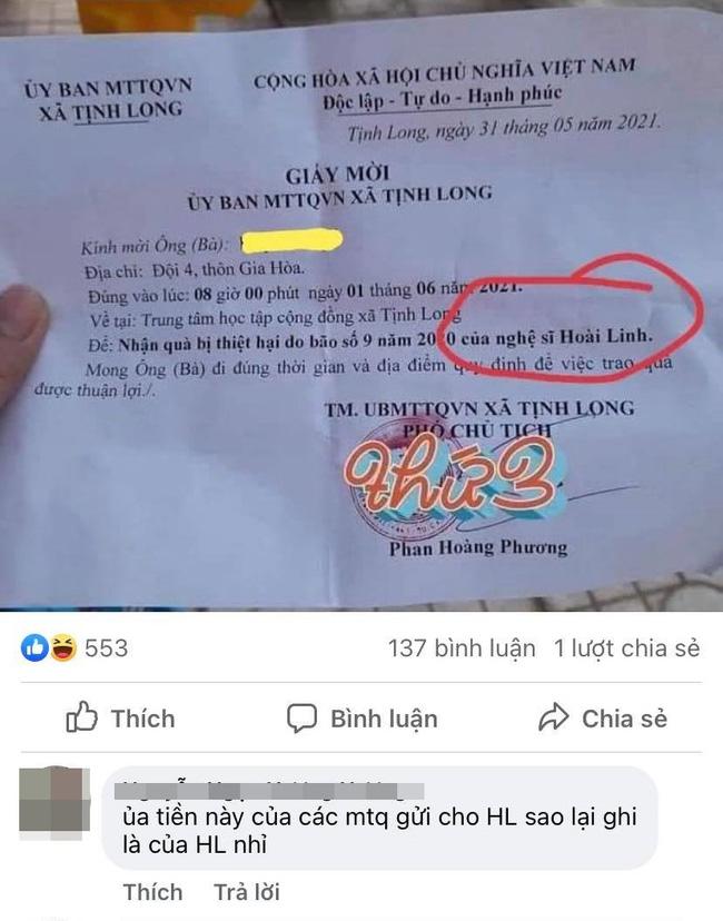 Hoài Linh lại gây tranh cãi trước chi tiết khó hiểu này trong giấy gửi quà từ thiện đến tay người dân miền Trung-1