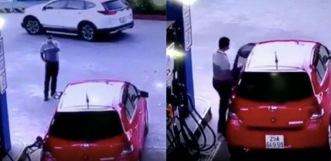 Đổ xăng đầy bình, tài xế không trả tiền đã vội phóng xe chạy mất, để lại nhân viên cây xăng đứng thẫn thờ-1