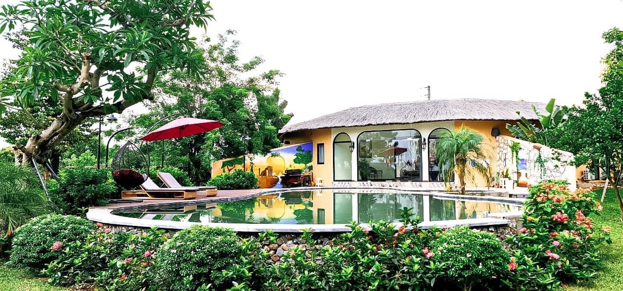 Vợ chồng Hà Nội về ngoại ô xây nhà mái lá, có đủ bể bơi xanh mát-2