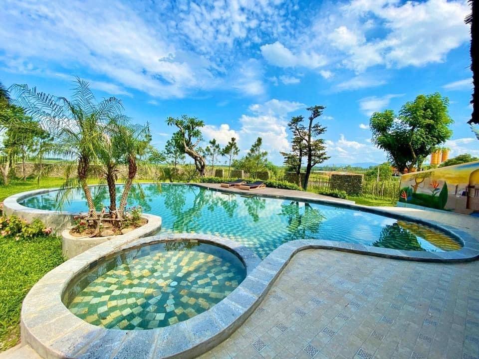 Vợ chồng Hà Nội về ngoại ô xây nhà mái lá, có đủ bể bơi xanh mát-6
