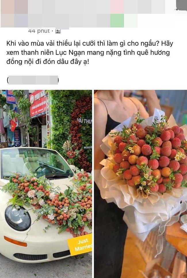 Thanh niên Bắc Giang chơi lớn không dùng hoa mà mua vải để trang trí xe cưới khiến dân mạng hết lời khen ngợi vì hành động nghĩa tình-1