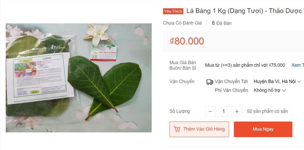 Lá bàng tươi rao bán khắp chợ mạng, giá lên đến 80.000 đồng/kg-1