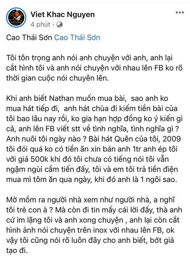 Cao Thái Sơn đã có bài đăng đầu tiên sau khi bị NS Khắc Việt bóc phốt tố giả tạo, và lần này anh không xóa nữa-1