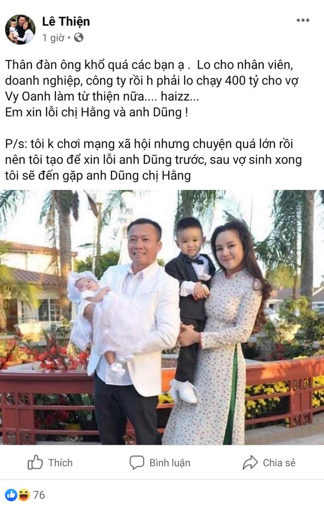 Giữa đêm, có người nhận là chồng Vy Oanh than phải lo chạy 400 tỷ làm từ thiện, xin lỗi bà Nguyễn Phương Hằng-1