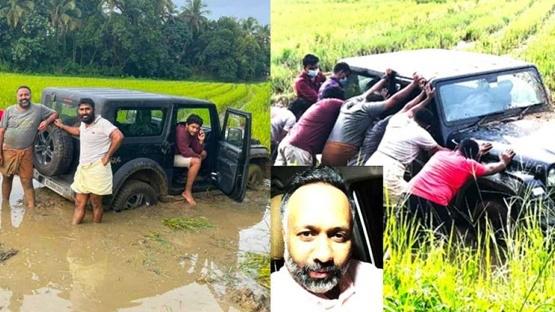 Học off-road trên mạng, ô tô sa lầy giữa ruộng lúa