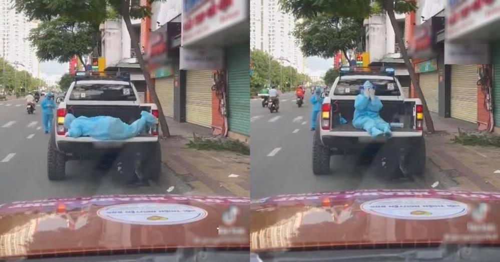 Hình ảnh tình nguyện viên cố leo lên xe phun khử khuẩn gây sốt MXH-2