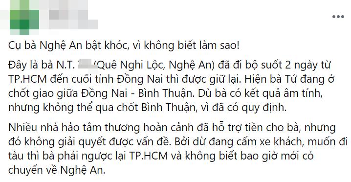 Cụ bà đi bộ từ Sài Gòn về Nghệ An bật khóc khi được MTQ hỗ trợ-1