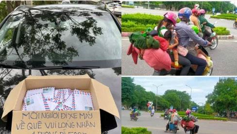 Xót xa cảnh người dân vạ vật chạy xe máy vượt hàng ngàn km về Nghệ An tránh dịch và những tấm phong bì nghĩa tình