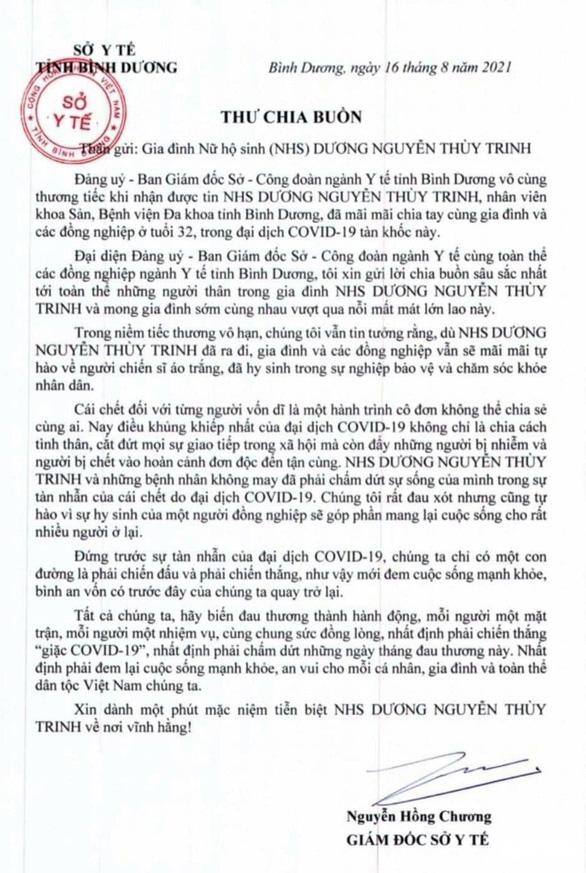 Nữ hộ sinh Bình Dương tử vong vì COVID-19 khi mang thai hơn 20 tuần-1