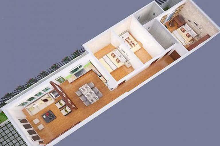 Mẫu nhà ống 1 tầng 3 phòng ngủ cho nhà đông người đang được ưa chuộng-7