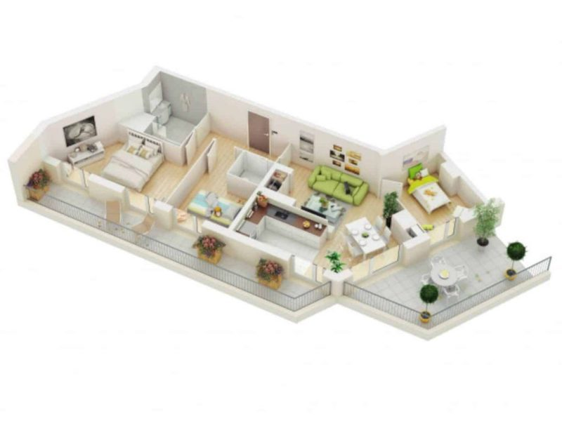 Mẫu nhà ống 1 tầng 3 phòng ngủ cho nhà đông người đang được ưa chuộng-8