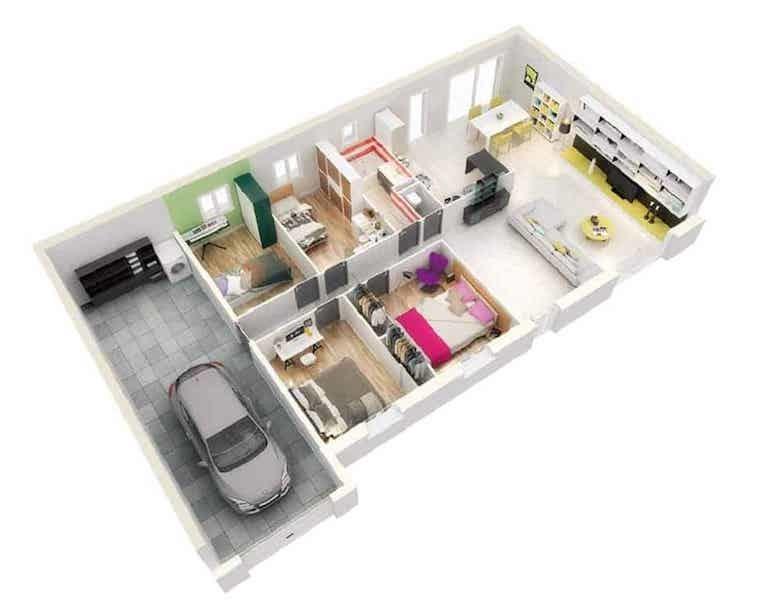 Mẫu nhà ống 1 tầng 3 phòng ngủ cho nhà đông người đang được ưa chuộng-9