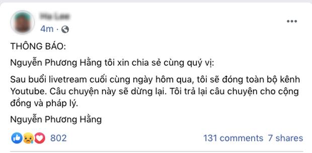 Bà Phương Hằng thông báo sẽ đóng toàn bộ kênh YouTube sau khi tuyên bố dừng lại trong buổi livestream cuối cùng-1