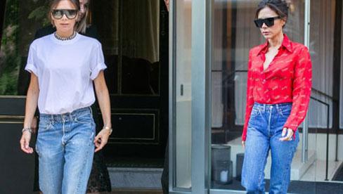 Kiểu quần jeans yêu thích của Victoria Beckham lại khiến cô bị dìm chân