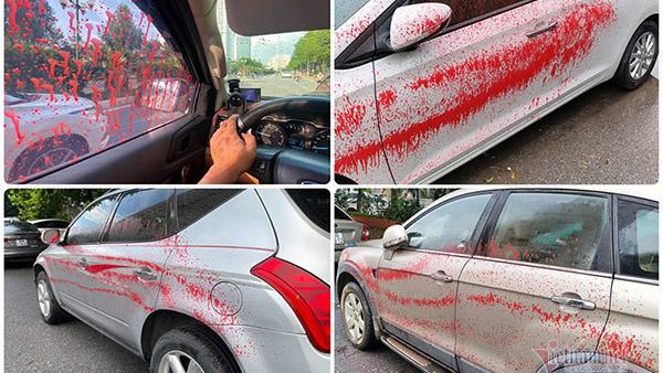 Hà Nội: Hàng loạt ô tô bị tạt sơn trong khu đô thị Trung Văn